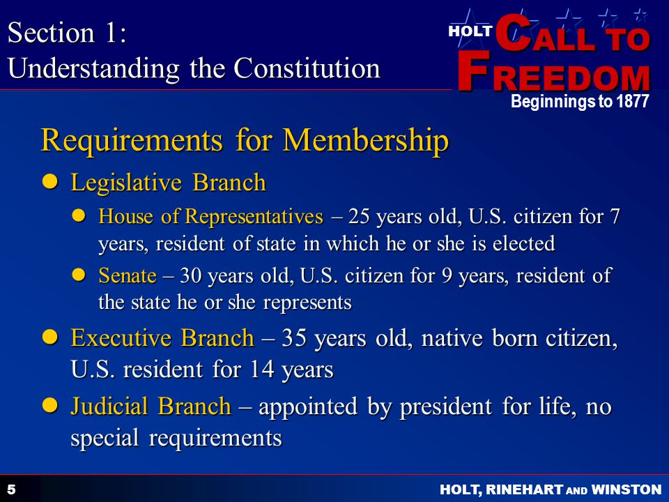 C ALL TO F REEDOM HOLT HOLT, RINEHART AND WINSTON Beginnings to 1877 5 Requirements for Membership Legislative Branch Legislative Branch House of Repr