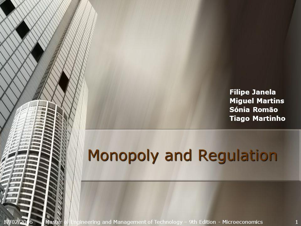 17/02/200612 Definitions Monopoly Behaviour Natural Monopoly Regulation Examples Monopoly Behaviour