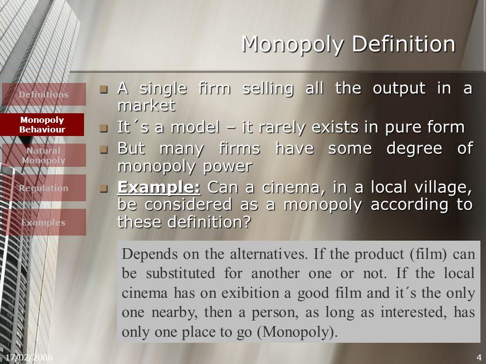 17/02/200615 Definitions Monopoly Behaviour Natural Monopoly Regulation Examples Monopoly Behaviour