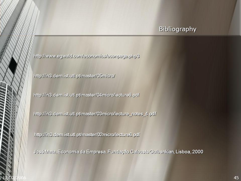 17/02/200645 Bibliography http://www.egwald.com/economics/econpage.php3 http://in3.dem.ist.utl.pt/master/05micro/ http://in3.dem.ist.utl.pt/master/04micro/lecture6.pdf http://in3.dem.ist.utl.pt/master/03micro/lecture_notes_4.pdf http://in3.dem.ist.utl.pt/master/02micro/lecture6.pdf José Mata, Economia da Empresa, Fundação Calouste Gulbenkian, Lisboa, 2000