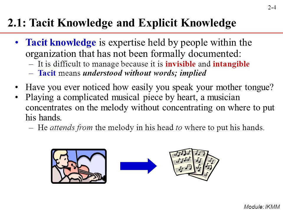 2-4 Module: IKMM 2.1: Tacit Knowledge and Explicit Knowledge Tacit knowledge is expertise held by people within the organization that has not been for