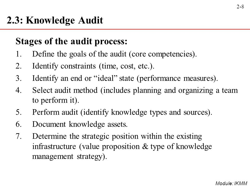 2-8 Module: IKMM 2.3: Knowledge Audit Stages of the audit process: 1.Define the goals of the audit (core competencies). 2.Identify constraints (time,