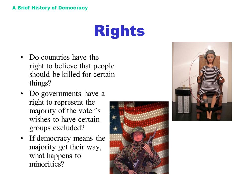 A Brief History of Democracy Rights Do countries have the right to believe that people should be killed for certain things? Do governments have a righ