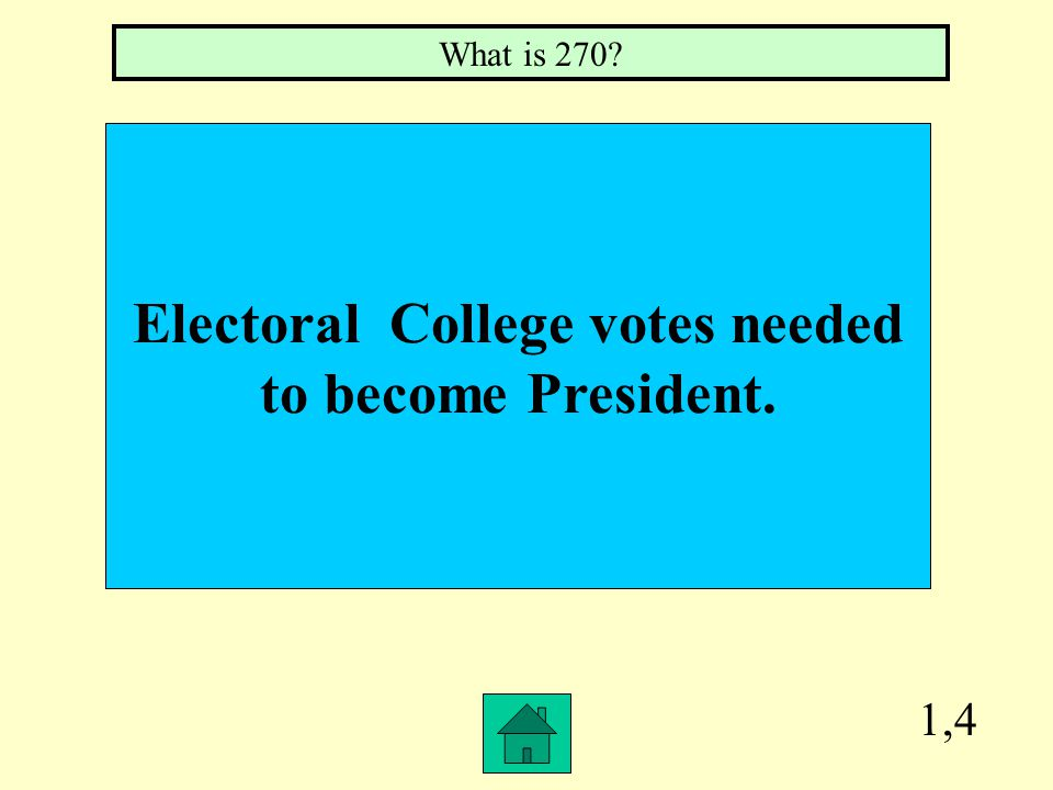 1,4 Electoral College votes needed to become President. What is 270?