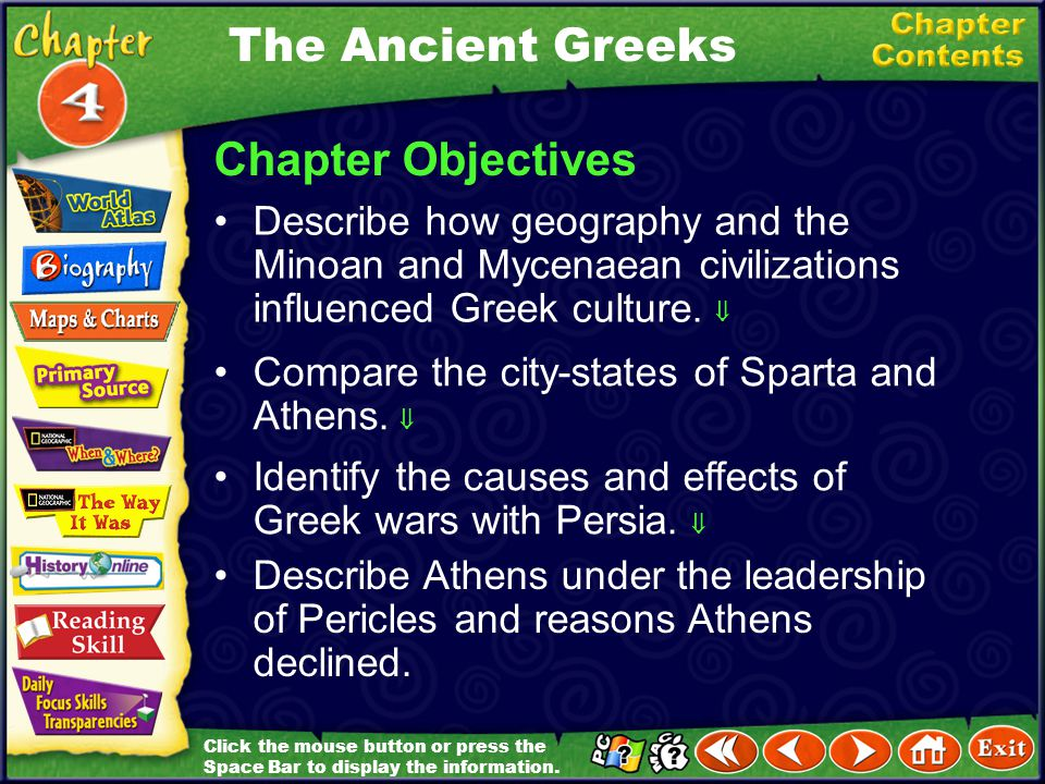 Chapter Introduction Section 1 The Early GreeksThe Early Greeks Section 2 Sparta and AthensSparta and Athens Section 3 Persia Attacks the GreeksPersia Attacks theGreeks Section 4 The Age of PericlesThe Age of Pericles Reading Review Chapter Assessment The Ancient Greeks Click on a hyperlink to view the corresponding slides.