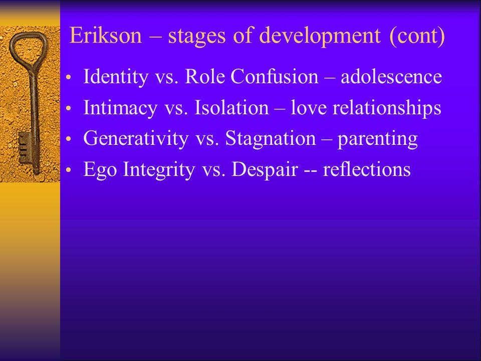 Eight Stages of Development: Trust vs. Mistrust -- feeding Autonomy vs. Shame/doubt – toilet training Initiative vs. Guilt – independence Industry vs.