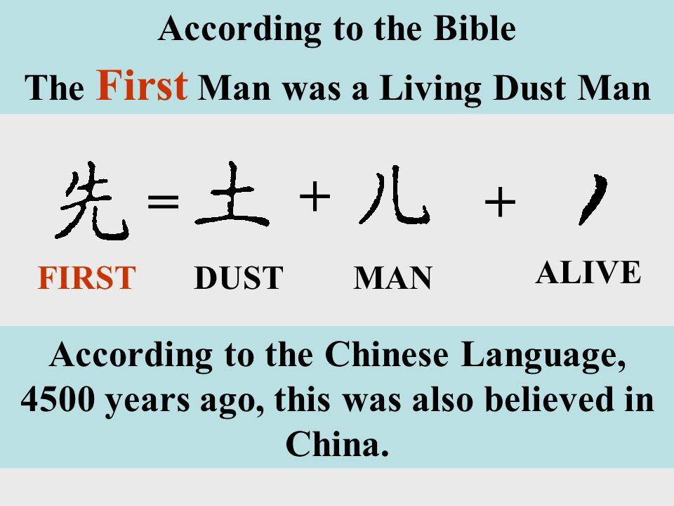 ALIVE + += DUSTMANFIRST According to the Bible The First Man was a Living Dust Man According to the Chinese Language, 4500 years ago, this was also believed in China.