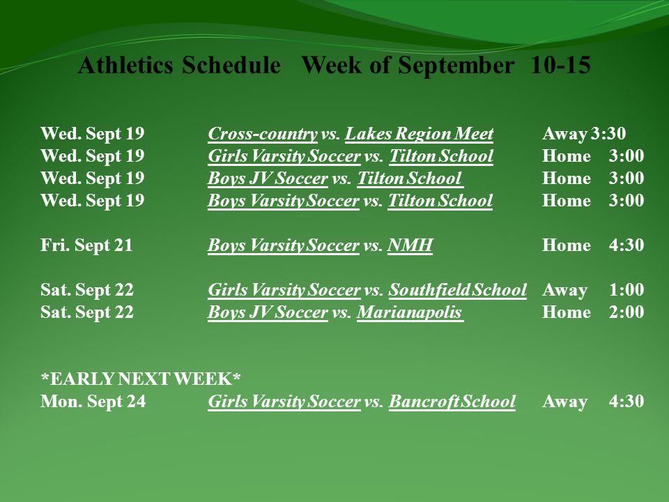 Athletics Schedule Week of September 10-15 Wed. Sept 19Cross-country vs.