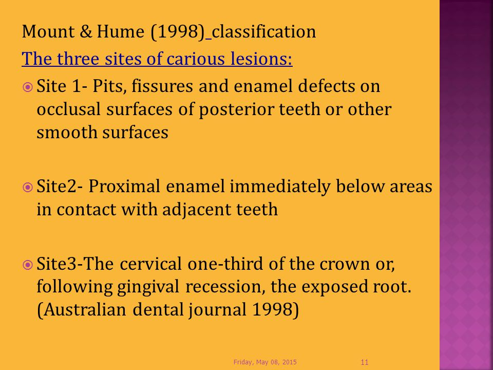 Mount & Hume (1998) classification The three sites of carious lesions:  Site 1- Pits, fissures and enamel defects on occlusal surfaces of posterior t