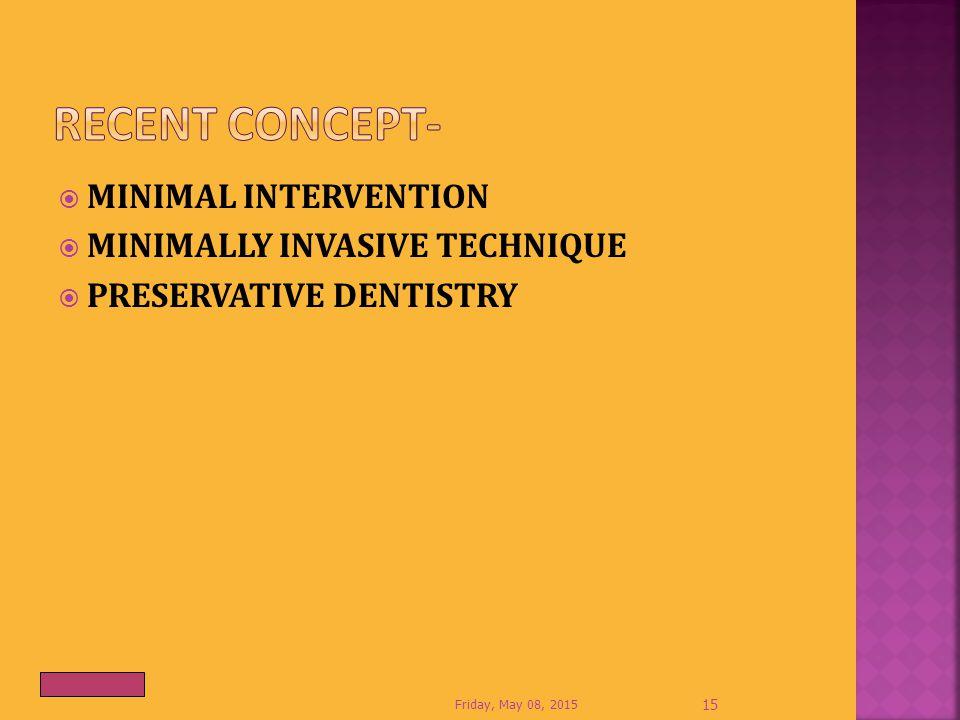  MINIMAL INTERVENTION  MINIMALLY INVASIVE TECHNIQUE  PRESERVATIVE DENTISTRY Friday, May 08, 2015 15