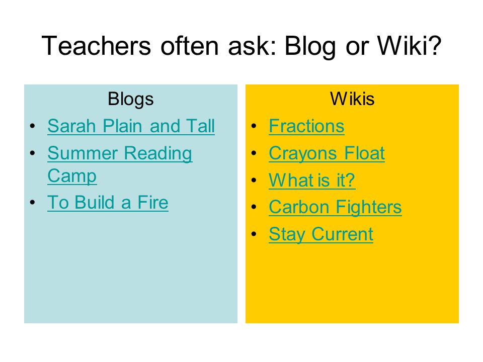 Teachers often ask: Blog or Wiki? Blogs Sarah Plain and Tall Summer Reading CampSummer Reading Camp To Build a Fire Wikis Fractions Crayons Float What