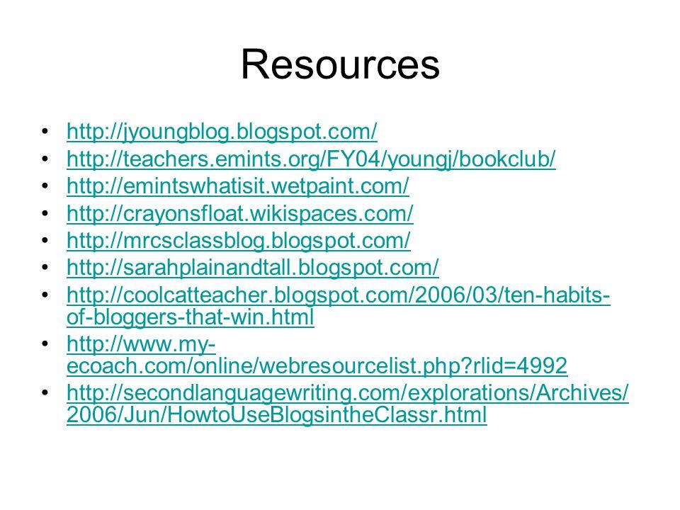 Resources http://jyoungblog.blogspot.com/ http://teachers.emints.org/FY04/youngj/bookclub/ http://emintswhatisit.wetpaint.com/ http://crayonsfloat.wikispaces.com/ http://mrcsclassblog.blogspot.com/ http://sarahplainandtall.blogspot.com/ http://coolcatteacher.blogspot.com/2006/03/ten-habits- of-bloggers-that-win.htmlhttp://coolcatteacher.blogspot.com/2006/03/ten-habits- of-bloggers-that-win.html http://www.my- ecoach.com/online/webresourcelist.php rlid=4992http://www.my- ecoach.com/online/webresourcelist.php rlid=4992 http://secondlanguagewriting.com/explorations/Archives/ 2006/Jun/HowtoUseBlogsintheClassr.htmlhttp://secondlanguagewriting.com/explorations/Archives/ 2006/Jun/HowtoUseBlogsintheClassr.html