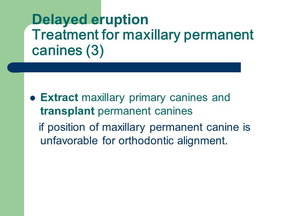 Delayed eruption Treatment for maxillary permanent canines (2) Retain maxillary primary canines and extract permanent canines If position of a maxilla