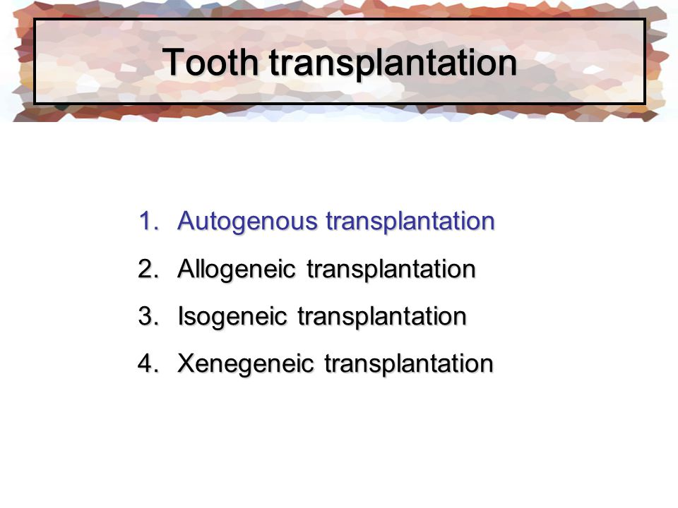 Surgical technique The tooth is then luxated, elevated from its position and gently returned to its position or maintained in its socket Leaving the donor tooth in the socket after luxation will allow it to continue to receive nutrients and be hydrate while the host site is being preparation 1.Mobilization of the transplant