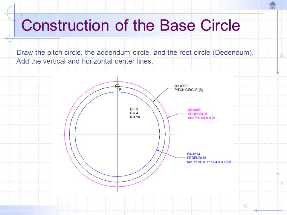 Construction of the Base Circle Mark point (P) at the intersection of the vertical center line and the pitch circle.