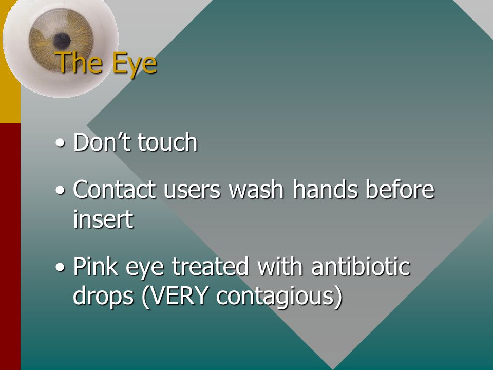 The Eye Don't touchDon't touch Contact users wash hands before insertContact users wash hands before insert Pink eye treated with antibiotic drops (VE