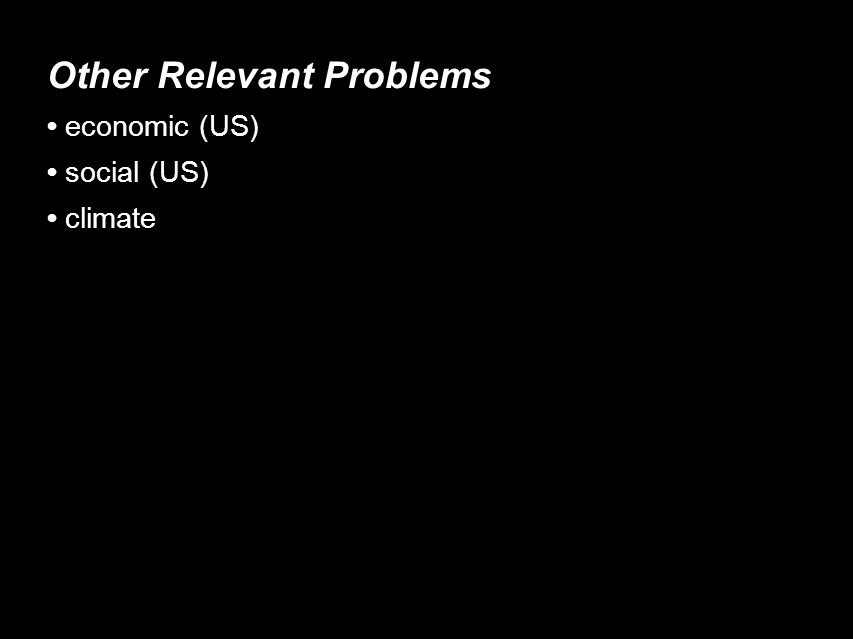 Other Relevant Problems economic (US)‏ social (US)‏ climate