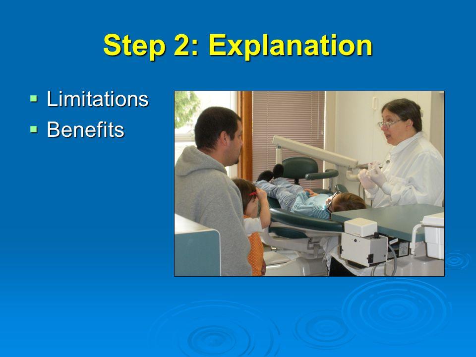 Step 2: Explanation  Limitations  Benefits