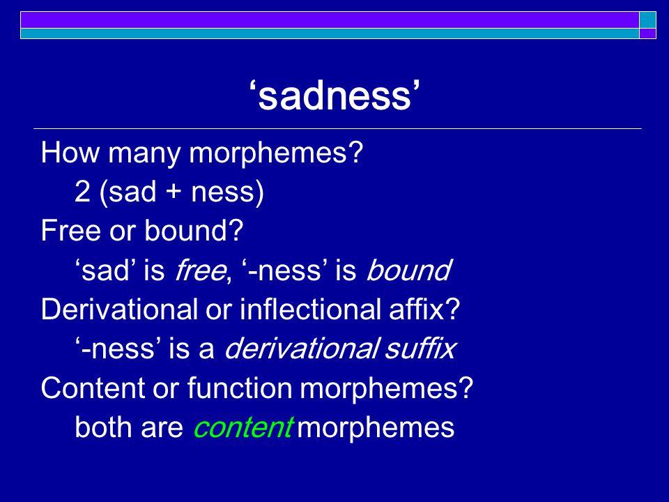 'sadness' How many morphemes. 2 (sad + ness) Free or bound.