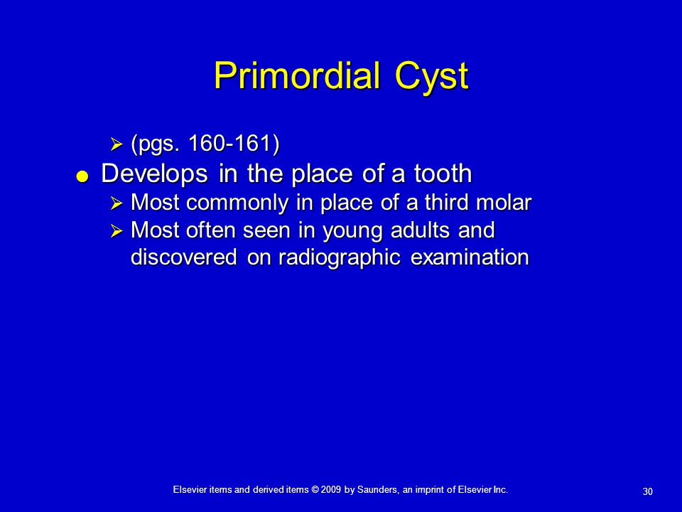 30 Elsevier items and derived items © 2009 by Saunders, an imprint of Elsevier Inc. Primordial Cyst  (pgs. 160-161)  Develops in the place of a toot