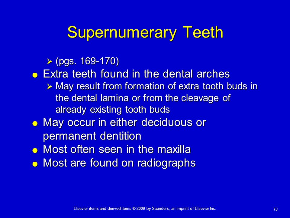 73 Elsevier items and derived items © 2009 by Saunders, an imprint of Elsevier Inc. Supernumerary Teeth  (pgs. 169-170)  Extra teeth found in the de