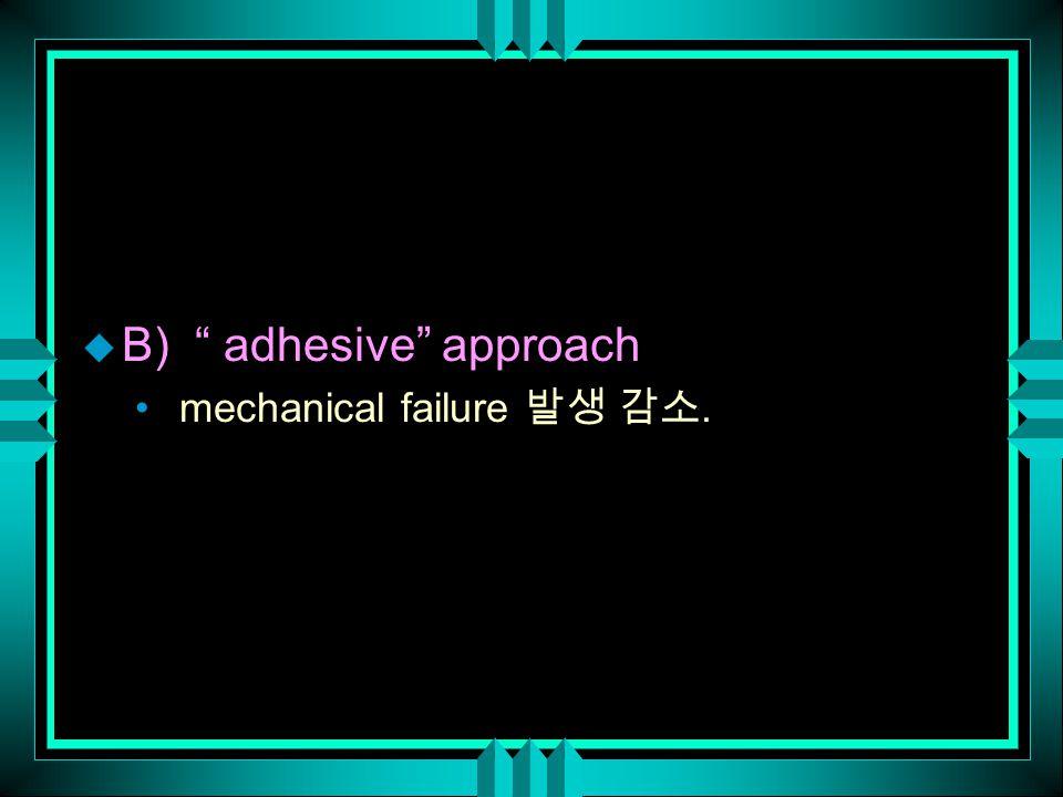 "u B) "" adhesive"" approach mechanical failure 발생 감소."