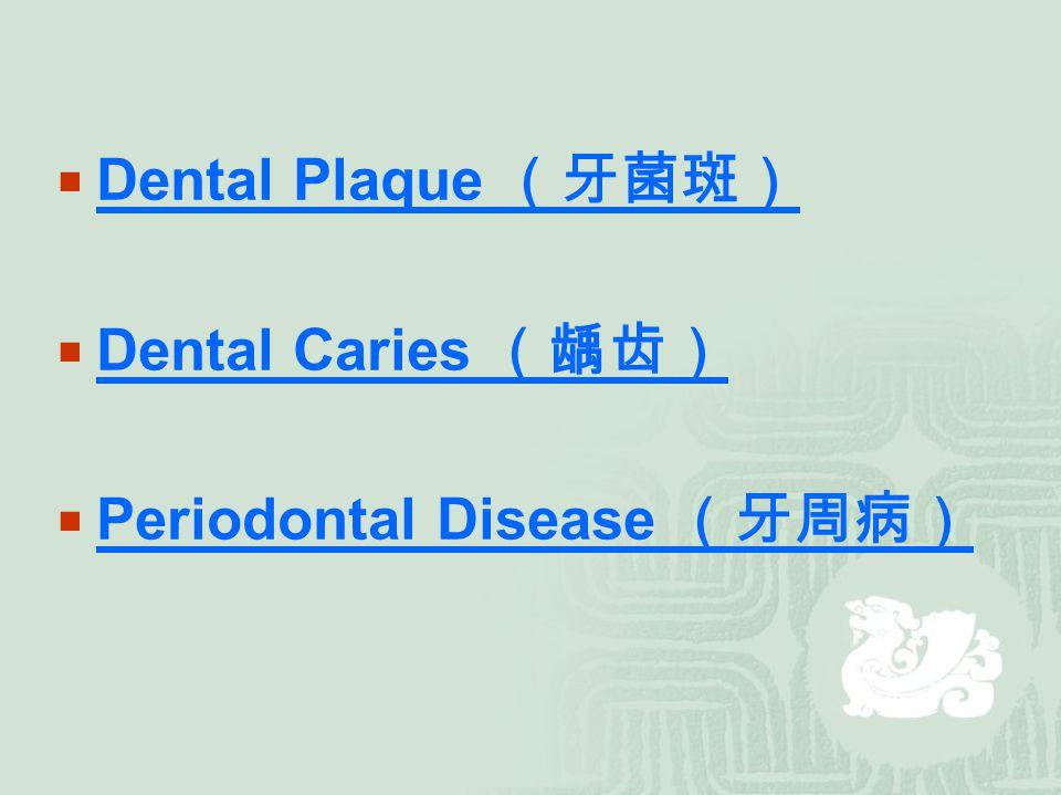  Dental Plaque (牙菌斑) Dental Plaque (牙菌斑)  Dental Caries (龋齿) Dental Caries (龋齿)  Periodontal Disease (牙周病) Periodontal Disease (牙周病)