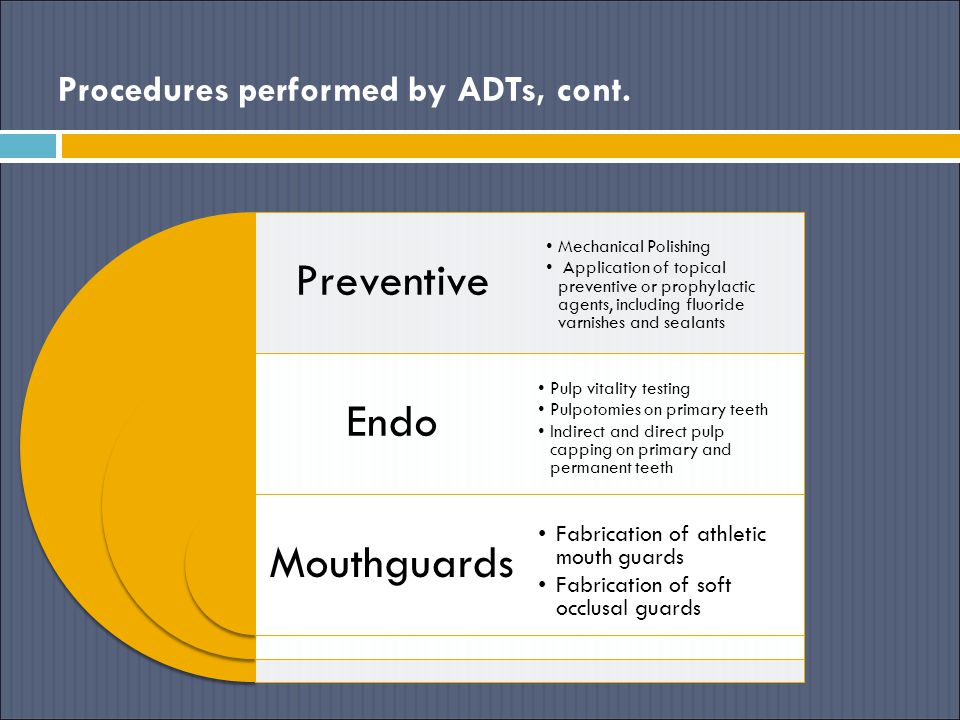 Procedures performed by ADTs, cont. Preventive Endo Mouthguards Mechanical Polishing Application of topical preventive or prophylactic agents, includi