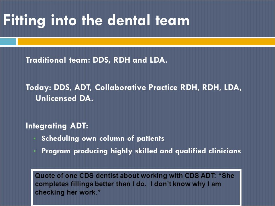 Fitting into the dental team Traditional team: DDS, RDH and LDA. Today: DDS, ADT, Collaborative Practice RDH, RDH, LDA, Unlicensed DA. Integrating ADT