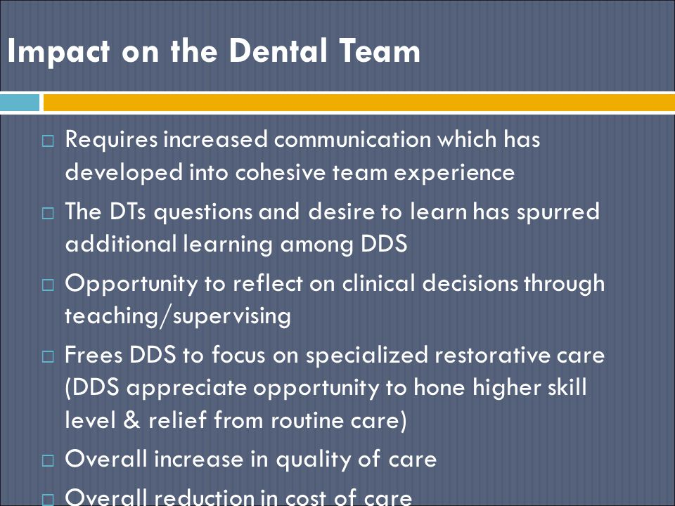 Impact on the Dental Team  Requires increased communication which has developed into cohesive team experience  The DTs questions and desire to learn