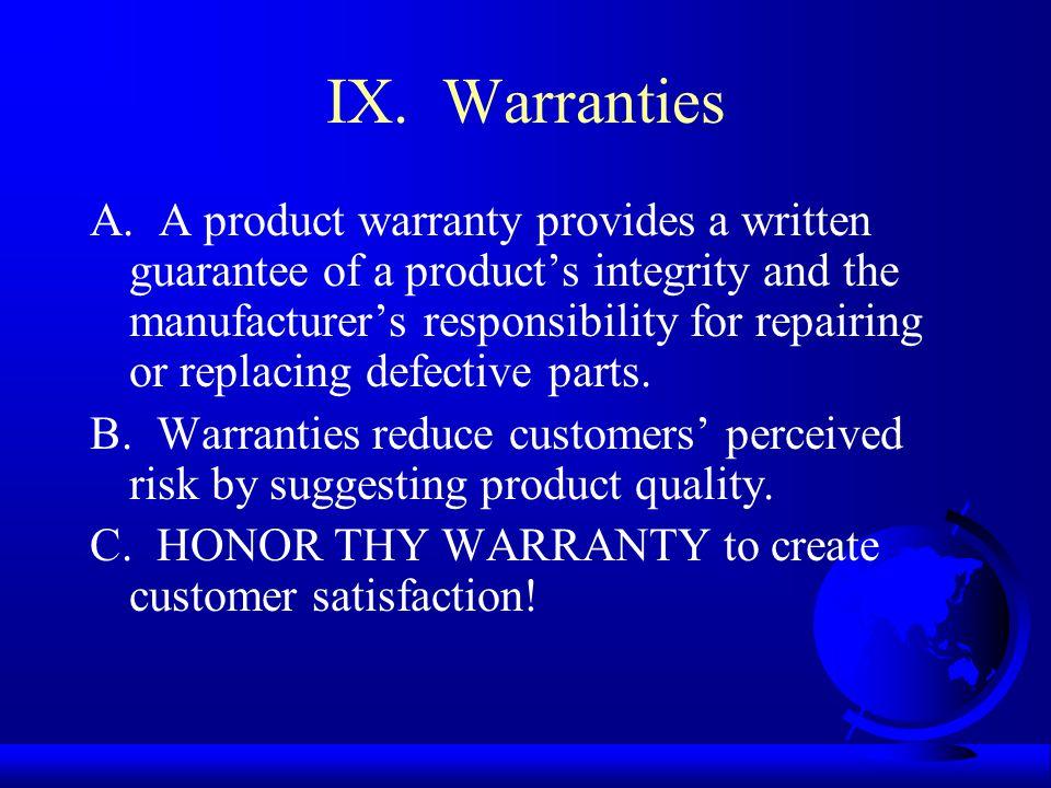 IX. Warranties A.