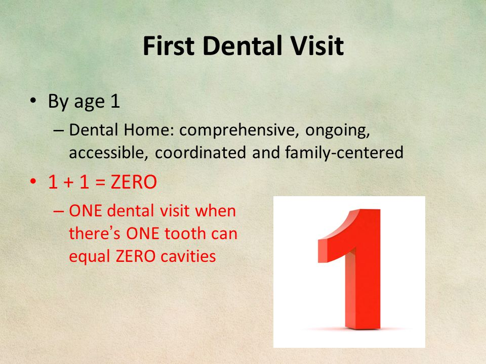 First Dental Visit By age 1 – Dental Home: comprehensive, ongoing, accessible, coordinated and family-centered 1 + 1 = ZERO – ONE dental visit when there's ONE tooth can equal ZERO cavities
