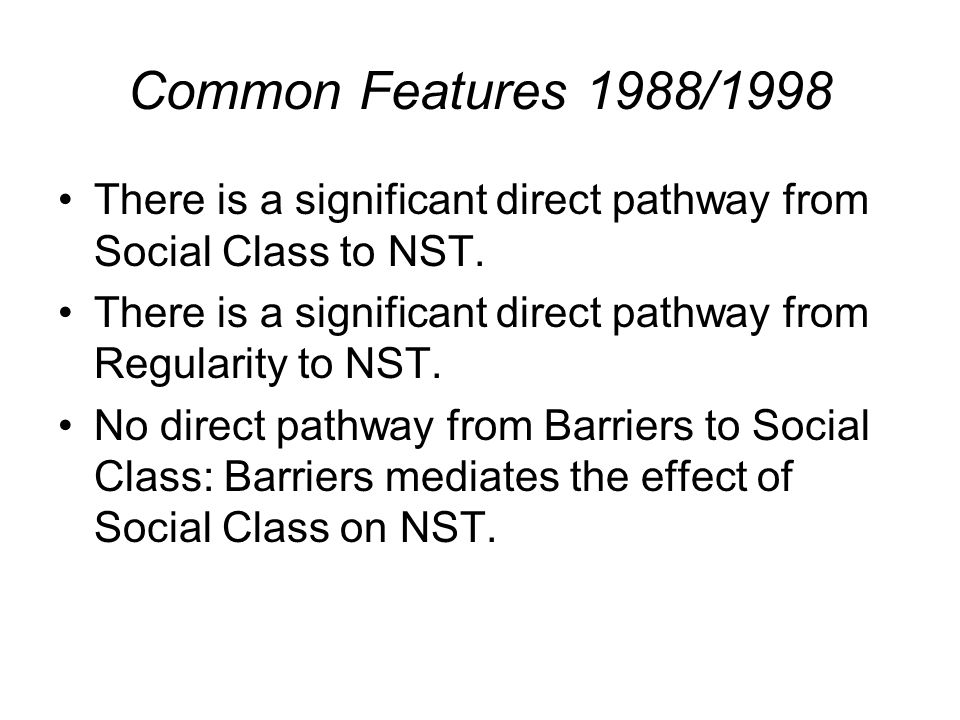 Common Features 1988/1998 There is a significant direct pathway from Social Class to NST. There is a significant direct pathway from Regularity to NST