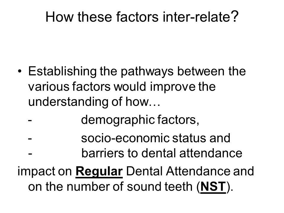 How these factors inter-relate ? Establishing the pathways between the various factors would improve the understanding of how… - demographic factors,