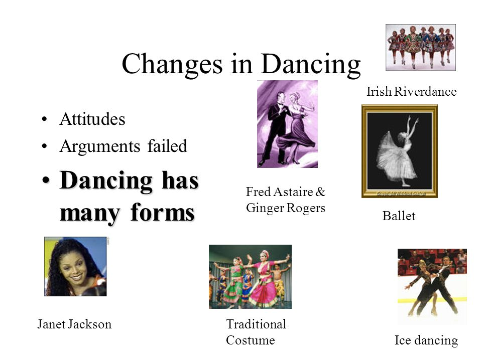 Changes in Dancing Attitudes Arguments failed Dancing has many formsDancing has many forms Fred Astaire & Ginger Rogers Irish Riverdance Ice dancing B