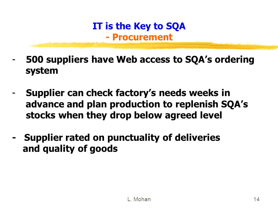 L. Mohan14 IT is the Key to SQA - Procurement -500 suppliers have Web access to SQA's ordering system -Supplier can check factory's needs weeks in adv