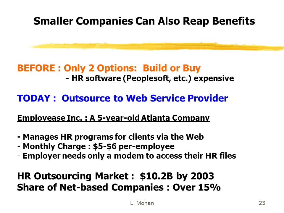 L. Mohan23 Smaller Companies Can Also Reap Benefits BEFORE : Only 2 Options: Build or Buy - HR software (Peoplesoft, etc.) expensive TODAY : Outsource