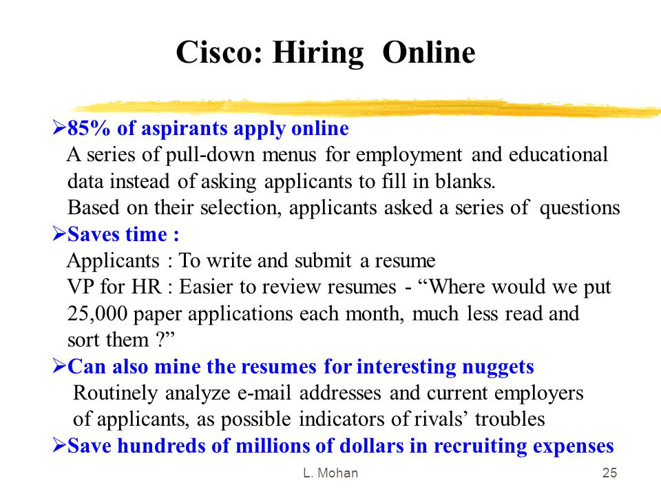 L. Mohan25 Cisco: Hiring Online  85% of aspirants apply online A series of pull-down menus for employment and educational data instead of asking appl