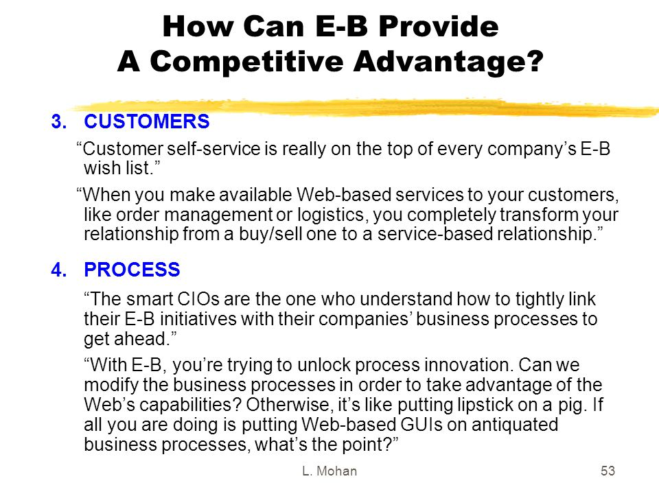L. Mohan53 How Can E-B Provide A Competitive Advantage.