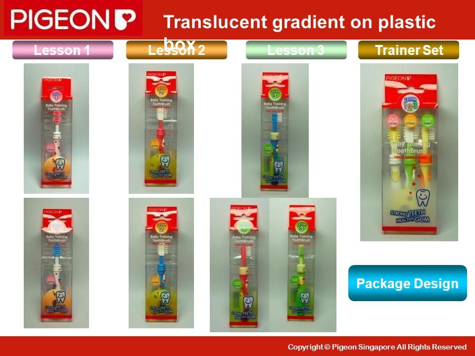 Copyright © Pigeon Singapore All Rights Reserved Lesson 1Lesson 3Lesson 2 Trainer Set Translucent gradient on plastic box Package Design
