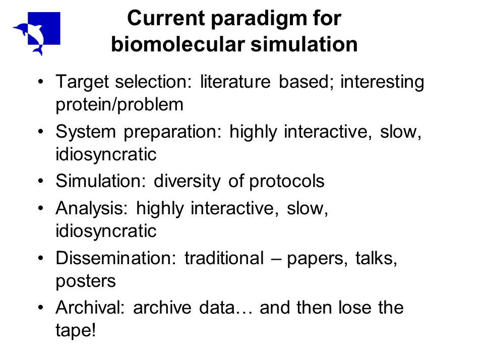 Current paradigm for biomolecular simulation Target selection: literature based; interesting protein/problem System preparation: highly interactive, slow, idiosyncratic Simulation: diversity of protocols Analysis: highly interactive, slow, idiosyncratic Dissemination: traditional – papers, talks, posters Archival: archive data… and then lose the tape!