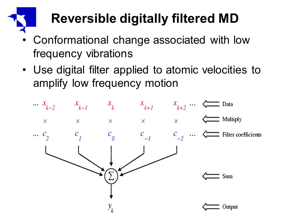 Reversible digitally filtered MD Conformational change associated with low frequency vibrations Use digital filter applied to atomic velocities to amplify low frequency motion
