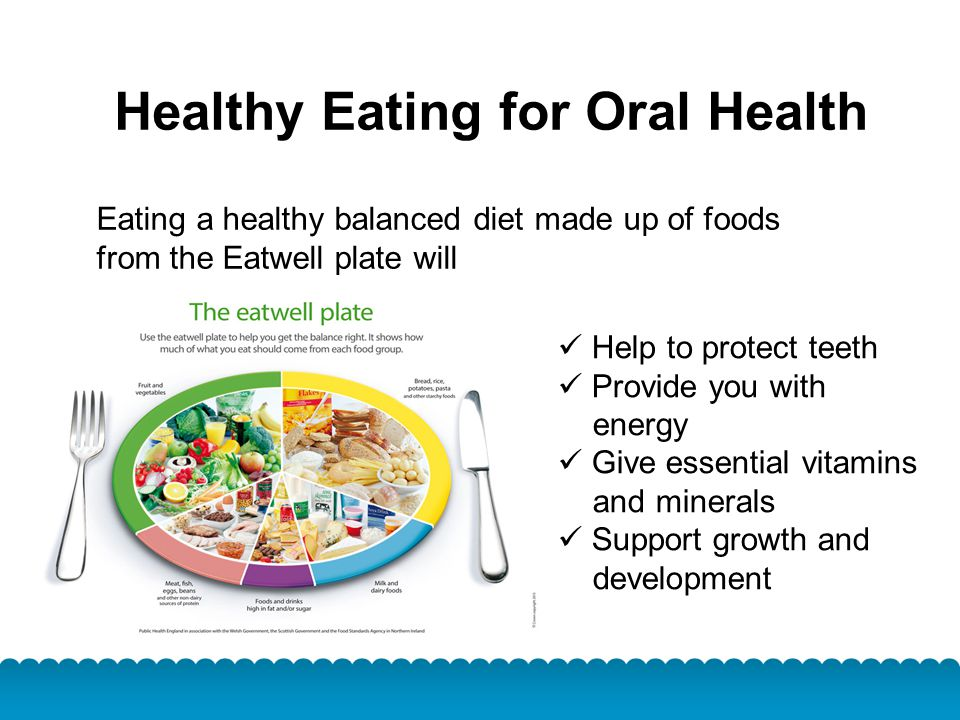 Healthy Eating for Oral Health Eating a healthy balanced diet made up of foods from the Eatwell plate will Help to protect teeth Provide you with ener