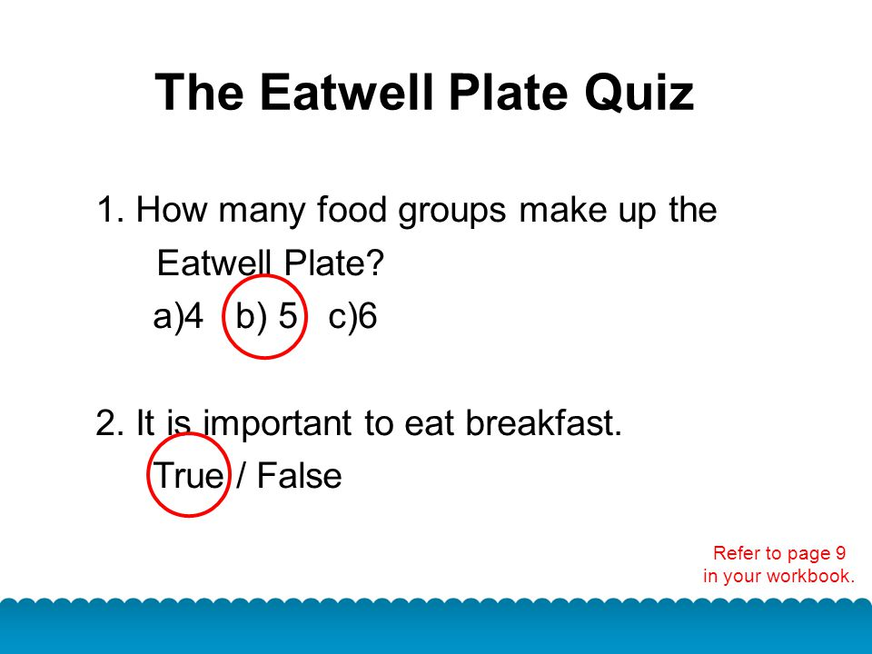 The Eatwell Plate Quiz 1. How many food groups make up the Eatwell Plate? a)4 b) 5 c)6 2. It is important to eat breakfast. True / False Refer to page