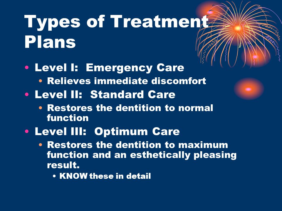 Types of Treatment Plans Level I: Emergency Care Relieves immediate discomfort Level II: Standard Care Restores the dentition to normal function Level