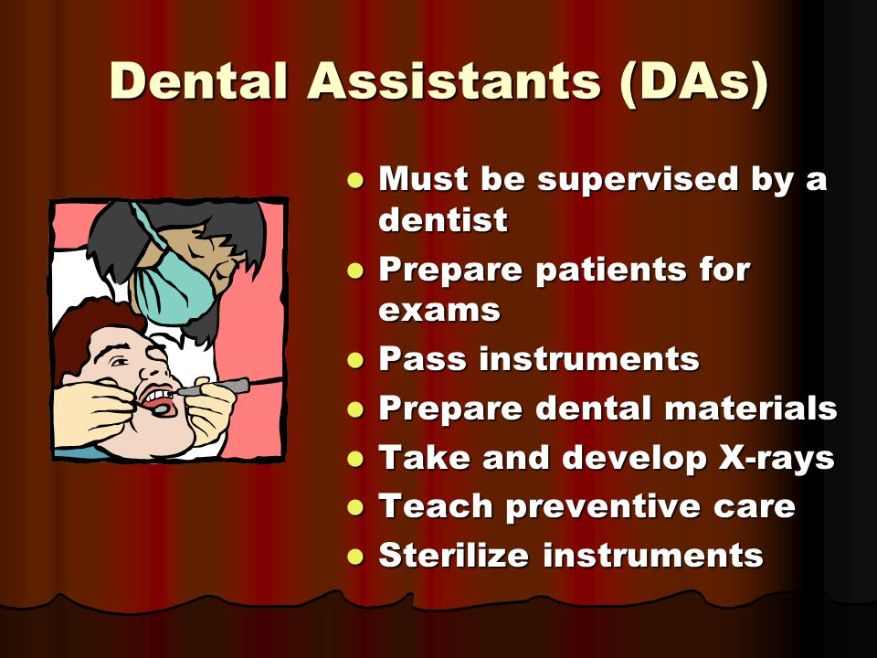 Dental Assistants (DAs) Must be supervised by a dentist Must be supervised by a dentist Prepare patients for exams Prepare patients for exams Pass instruments Pass instruments Prepare dental materials Prepare dental materials Take and develop X-rays Take and develop X-rays Teach preventive care Teach preventive care Sterilize instruments Sterilize instruments