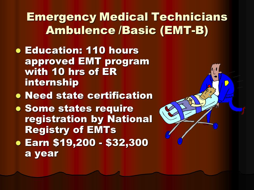 Emergency Medical Technicians Ambulence /Basic (EMT-B) Education: 110 hours approved EMT program with 10 hrs of ER internship Education: 110 hours approved EMT program with 10 hrs of ER internship Need state certification Need state certification Some states require registration by National Registry of EMTs Some states require registration by National Registry of EMTs Earn $19,200 - $32,300 a year Earn $19,200 - $32,300 a year