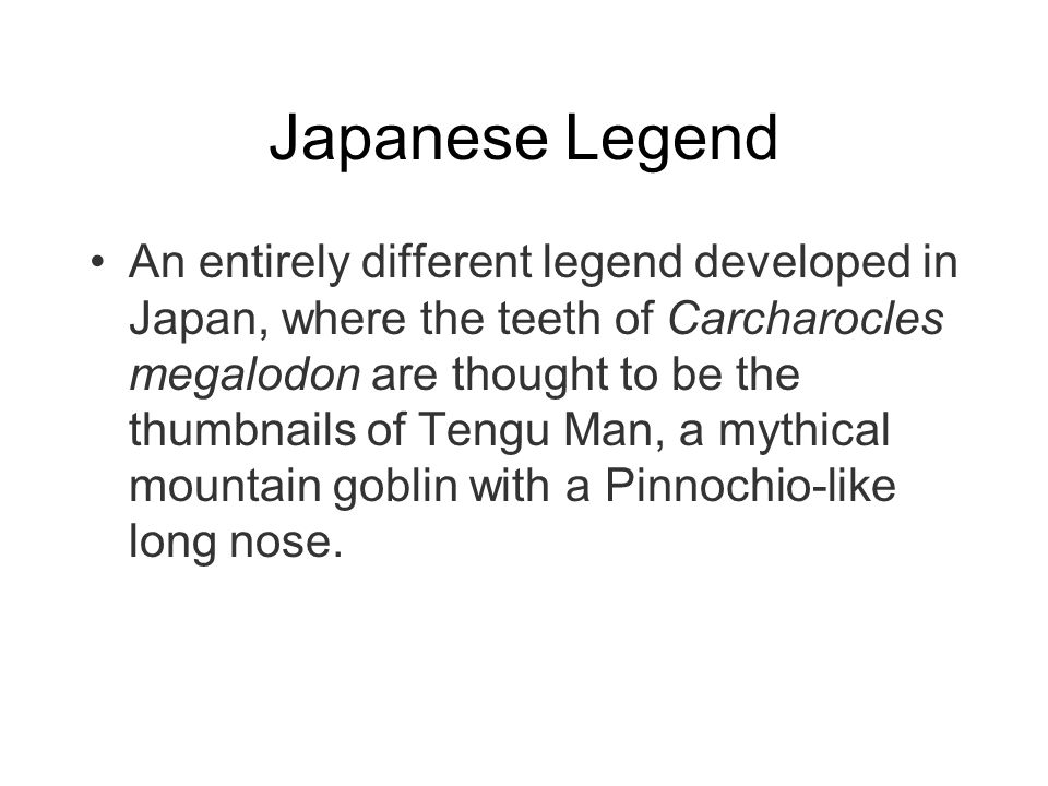 Japanese Legend An entirely different legend developed in Japan, where the teeth of Carcharocles megalodon are thought to be the thumbnails of Tengu M
