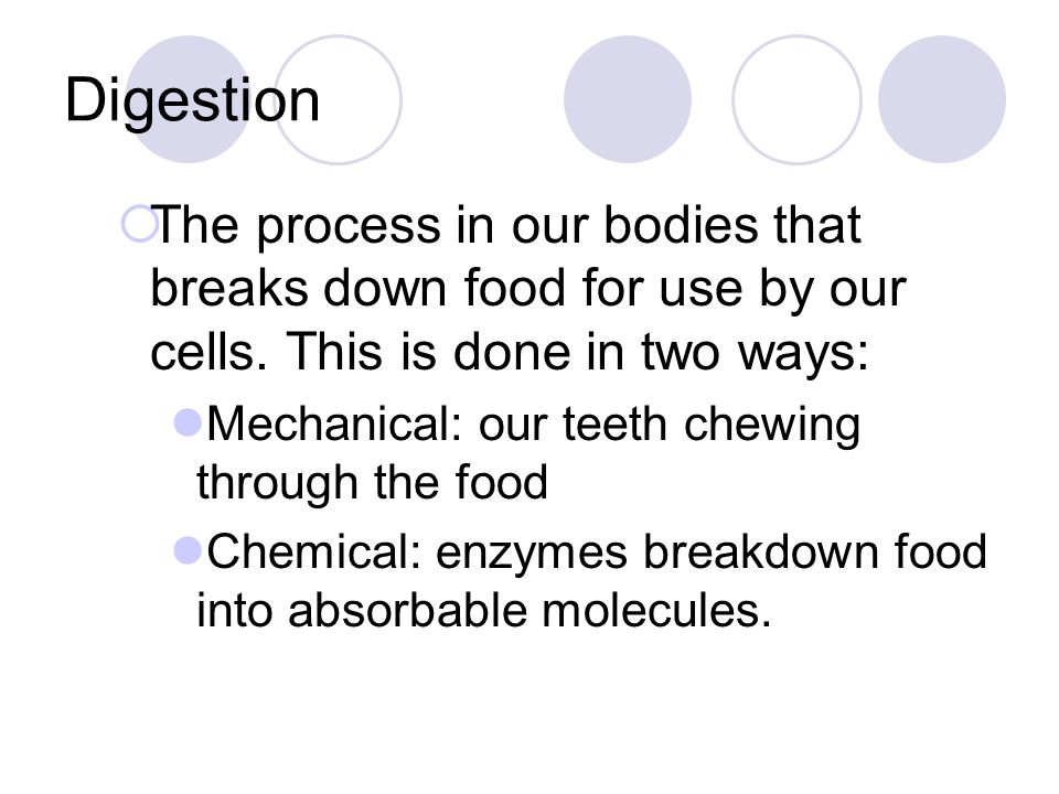 Digestion  The process in our bodies that breaks down food for use by our cells. This is done in two ways: Mechanical: our teeth chewing through the