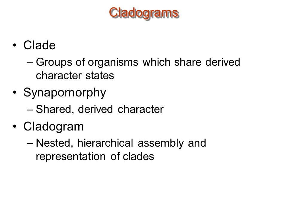CladogramsCladograms Clade –Groups of organisms which share derived character states Synapomorphy –Shared, derived character Cladogram –Nested, hierarchical assembly and representation of clades